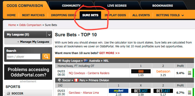 free sure bets finder